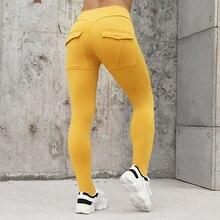 Normov 운동 여성 레깅스 하이 웨이스트 탄성 푸시 업 포켓 발목 길이 폴리 에스테르 레깅스 캐주얼 옐로우 레깅스