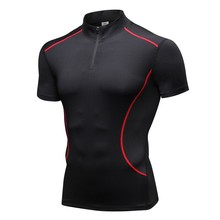 Men Casual Short Sleeve Quick-drying Breathable Bottoming Shirt Stand Collar T-shirt Sports Solid Color Tops color block stand collar t shirt