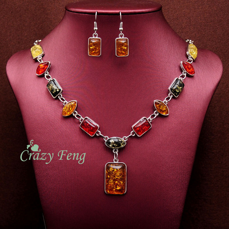 Free shipping Crazy Feng New Women Vintage Retro Silver-color African Colorful Stones Wedding Jewelry Necklace Earrings Sets