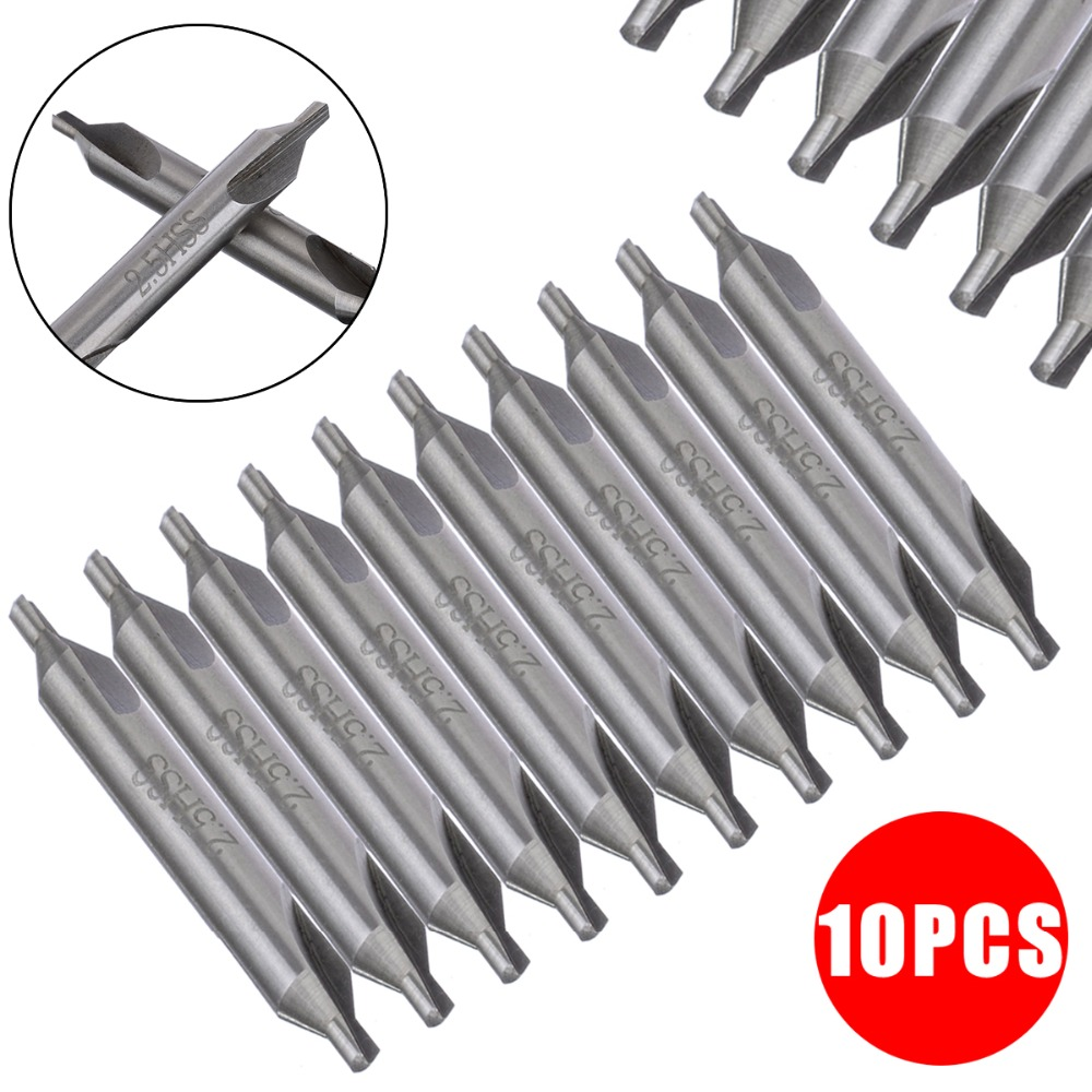 10pcs/Set 2.5mm Center Drill 60 Degree High Speed Steel Countersinks Combined Drill Bits For Hole Machining Reduces Error