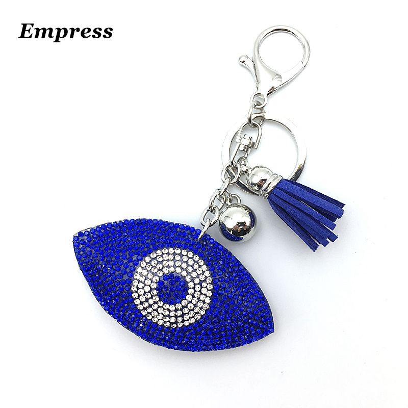 New Fashion Key Chain 11 Color Rhinestone Evil Eye Key Wallet Bag Buckles Fatima Pendant Car Holder Keyring Keychain Women