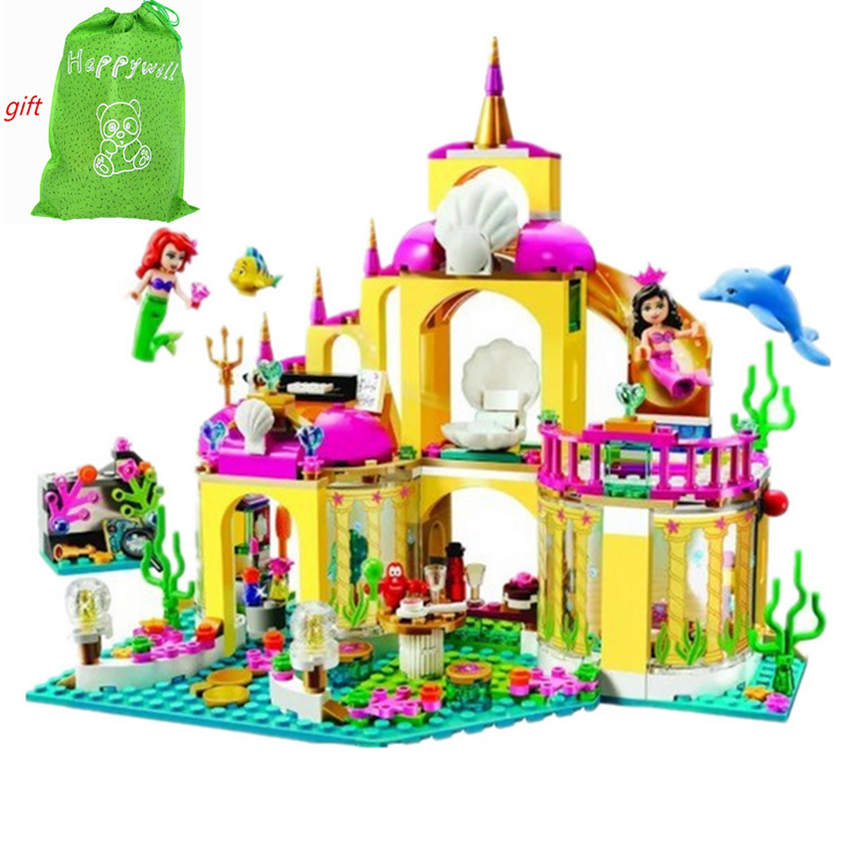 Happywill Gift bag stickers New 402pcs JG306 Princess Undersea Palace Girl Building Blocks Bricks Toys For Children Christmas