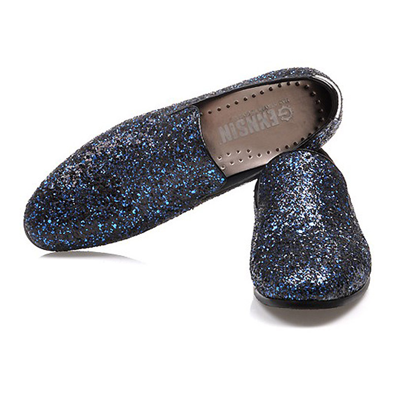 2016 Men Glitter wedding flat shoes Mens Fashion Casual Loafers Men s  Designer Dress Shoes Sequined shoe loafers with platform-in Women s Flats  from Shoes ... 0e278f1bb406