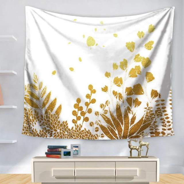 200x150cm Golden Leaves Wall Art Tapestry Nordic Home Decoration ...