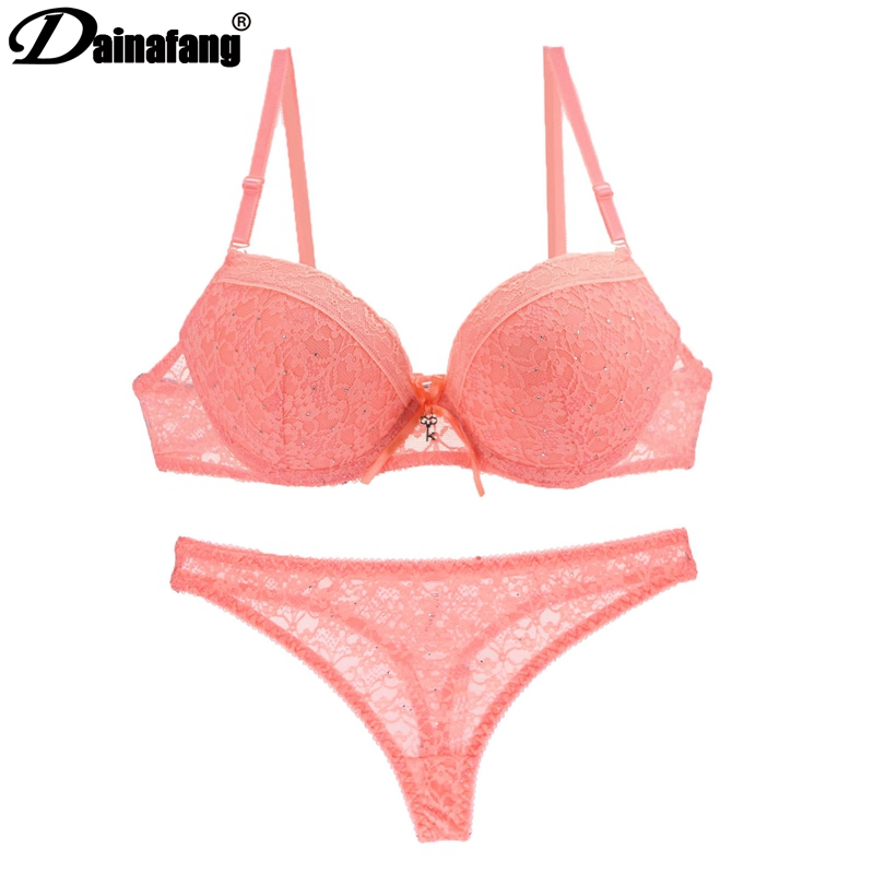DAINAFANGLuxury French Sexy Gold Lace Dress   Set   for Women Push up Lingerie and Underwear   Set