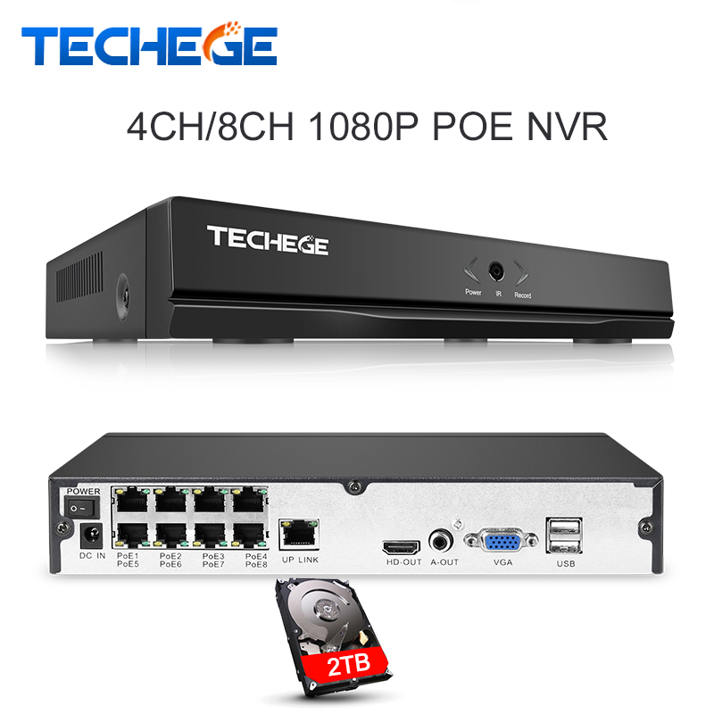 Techege 4CH 8CH Full HD Onvif 1080P 48V Real PoE NVR All in one Network Video Recorder for PoE IP Cameras P2P XMeye CCTV System