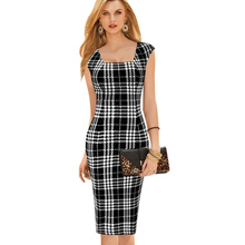 2016 New Sale Womens Summer Sleeveless Dresses Elegant Tartan Square Neck Tunic Work Business Casual Party Pencil Sheath Dress