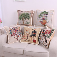 European And American Vintage Linen Embroidered Pillow Home Furnishing Square Office Sofa Cushion
