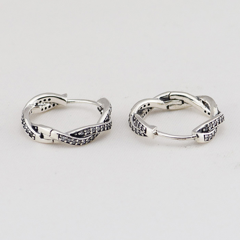 Authentic-925-Sterling-Silver-Braided-Hoop-Earring-with-CZ-Fashion-Jewelry-Earrings-For-Women-Free-Shipping (2)