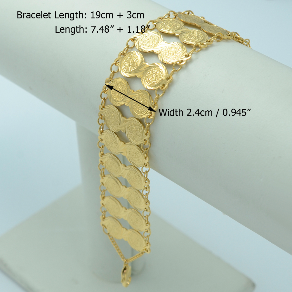 Arab Coin Currency Bangle Islamic Bracelet ANNIYO Fashion Gold Color Jewelry