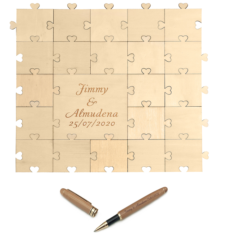 Personalized Engraved Wood Heart Love Puzzle Wedding Guest Book Bamboo Pen Wooden Guestbook Set Wedding Decor Baby Shower Favor
