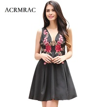 ACRMRAC Women's Clothing embroidered Sexy Deep V collar Backless A-Line Dresses