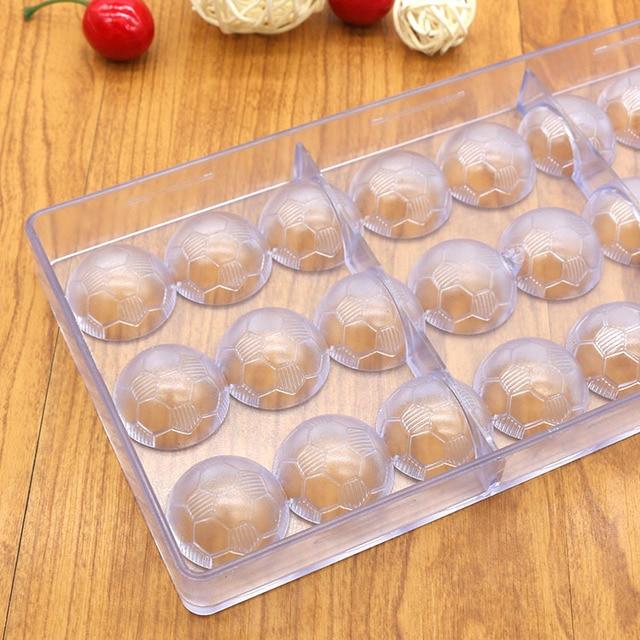 Moule à chocolat dur 24 trous bricolage | Ballon en forme de football, moule à bonbons en plastique de qualité alimentaire, moule à gelée de glace transparente