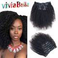 Mongolian Kinky Curly Clip In Hair Extensions 7Pcs/set Afro Kinky Curly Clip Ins Human Kinky Curly Clip In Human Hair Extensions