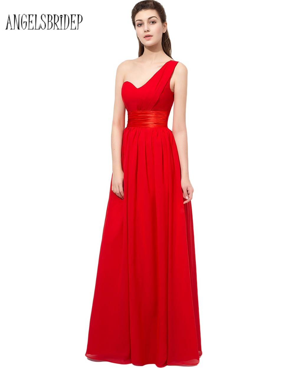 ANGELSBRIDEP Red A Line Formal Bridesmaid Dresses With