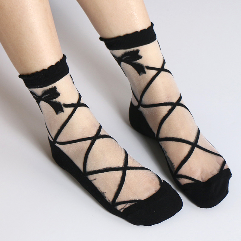 1 Pair Women Lady Girl Socks Transparent Mesh Bowknot Breathable Elasticity For Autumn FS99