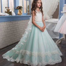 Girls dress Hot Lace Mesh Princess Dress Party Wedding Dress Long  Piano Show Costumes Sleeveless Girls clothes