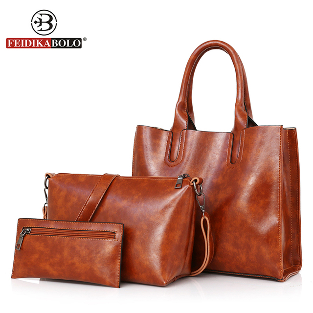 5d63d56d4ee 3Pcs Set Leather Women Handbag Female High Quality Luxury Handbags Women  Bags Designer 2018 Vintage Brown Causal Totes And Purse