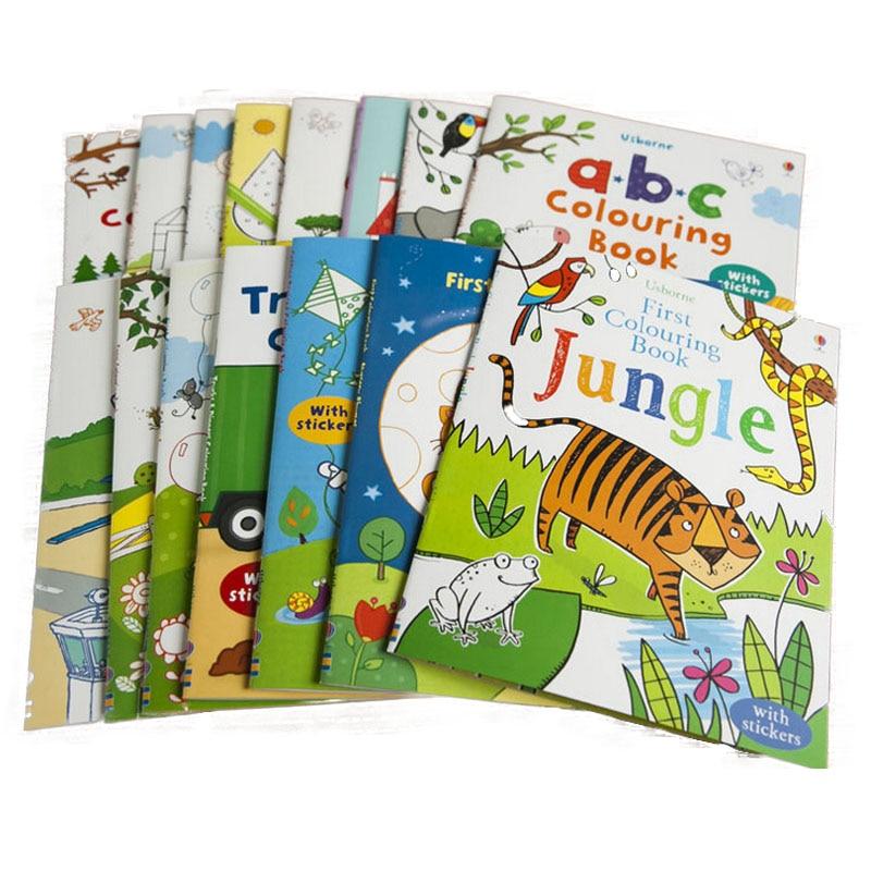 Random 5 Pcs For Children Comics Magic Draw Books Colored Pencils Art Painted Kids Manga Baby 0-6 Years Old English Sticker Book