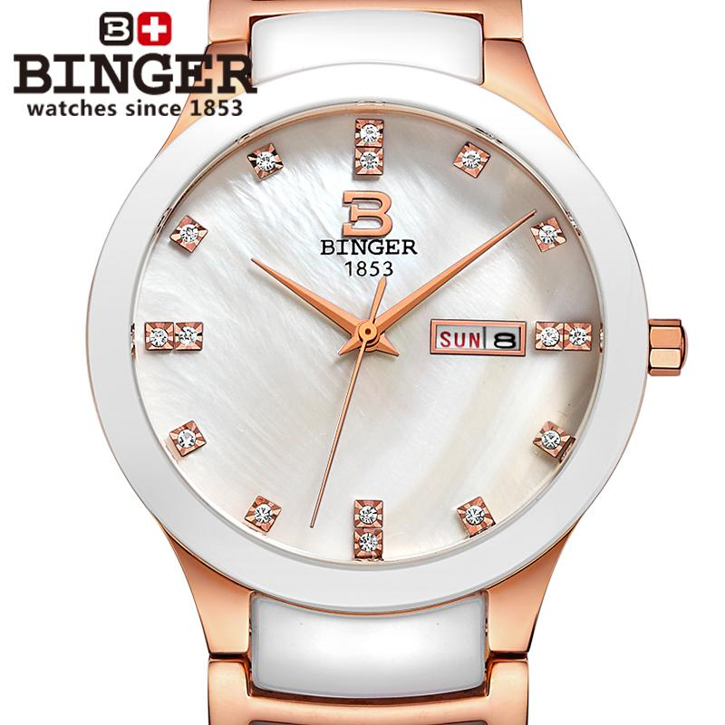 Switzerland Binger ceramic wristwatches men fashion quartz watch rhinestone Lovers watches Water Resistant B 8007 7