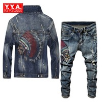 Spring 2018 Newest Fashion Men's Sets Vintage Embroidery Punk Style Long Sleeve Campera Hombre Hole Ripped Denim Pants Man Suit