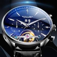 SOLLEN Brand Men's Mechanical Watch Quality Automatic Minimalist Waterproof Stainless Steel Diesel Watch Diver Simple Style Men