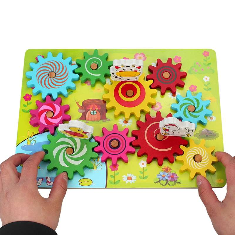 1-2-3-4 Year Olds Children Wooden Large Gears Child Fun Building Blocks Screws Fight The Baby Desktop Educational Toys ...