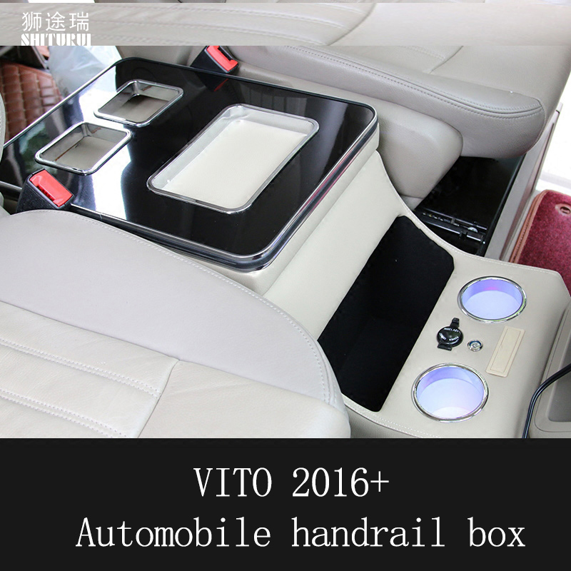 SHITURUI For Benz vito 2016+ mvp Auto Styling Accessories Car Armrest Box Walnut Central Store Content Storage Box USB