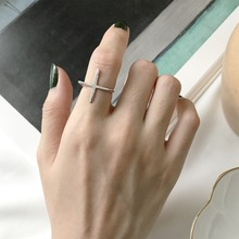 цена на Amaiyllis 925 Sterling Silver Cross Rings for Women New Design Lovely Girls Statement Jewelry Adjustable Size Ring