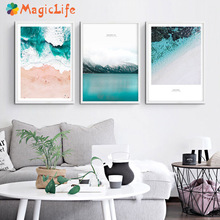 Scandinavian Tropical Ocean Waves Decor Wall Art Canvas Painting Nordic Poster Pictures Modern Home Prints Unframed