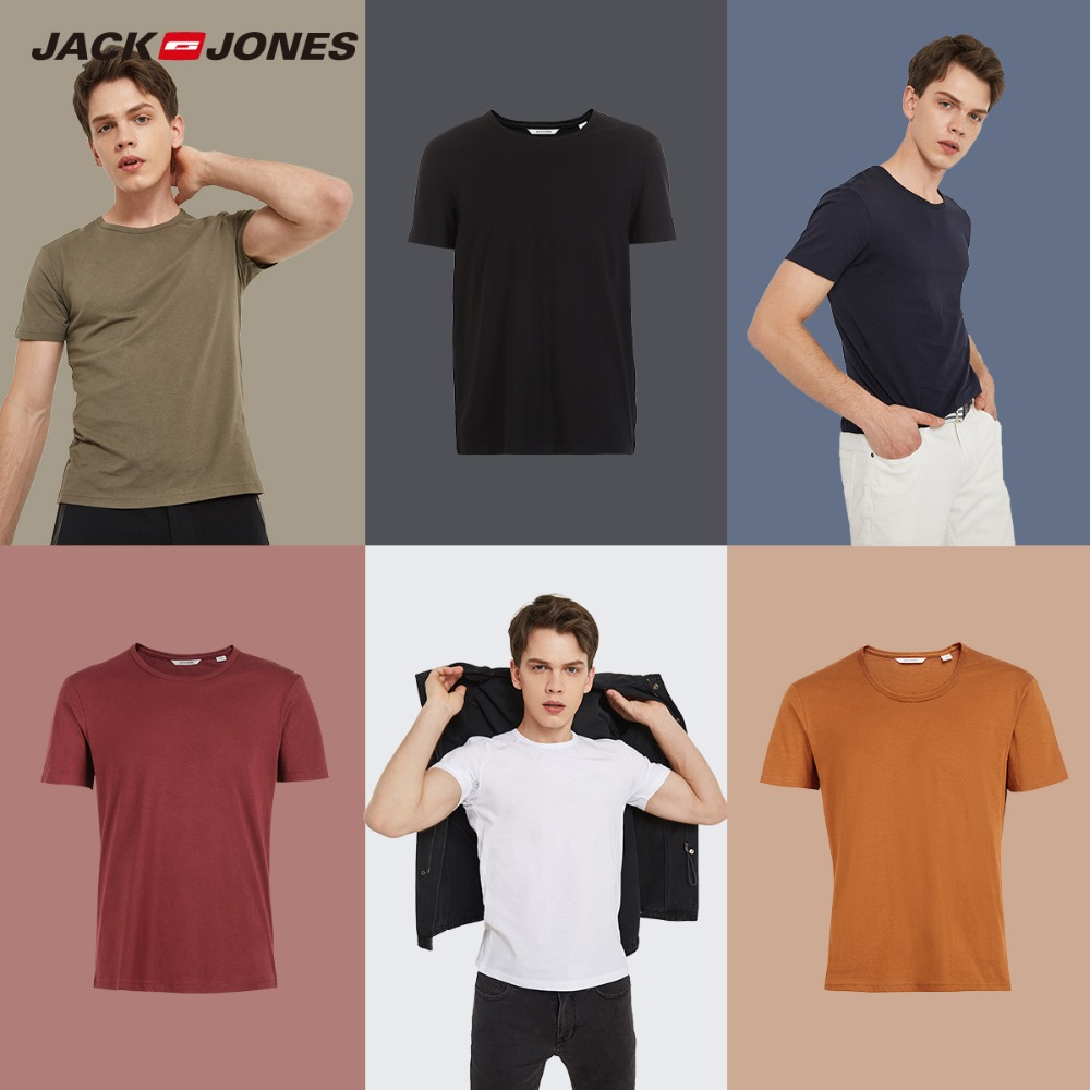 JackJones 2019 Brand New Men's Cotton T shirt Solid Colors T-Shirt Top Fashion tshirt men's Tee More Colors 3XL 2181t4517(China)