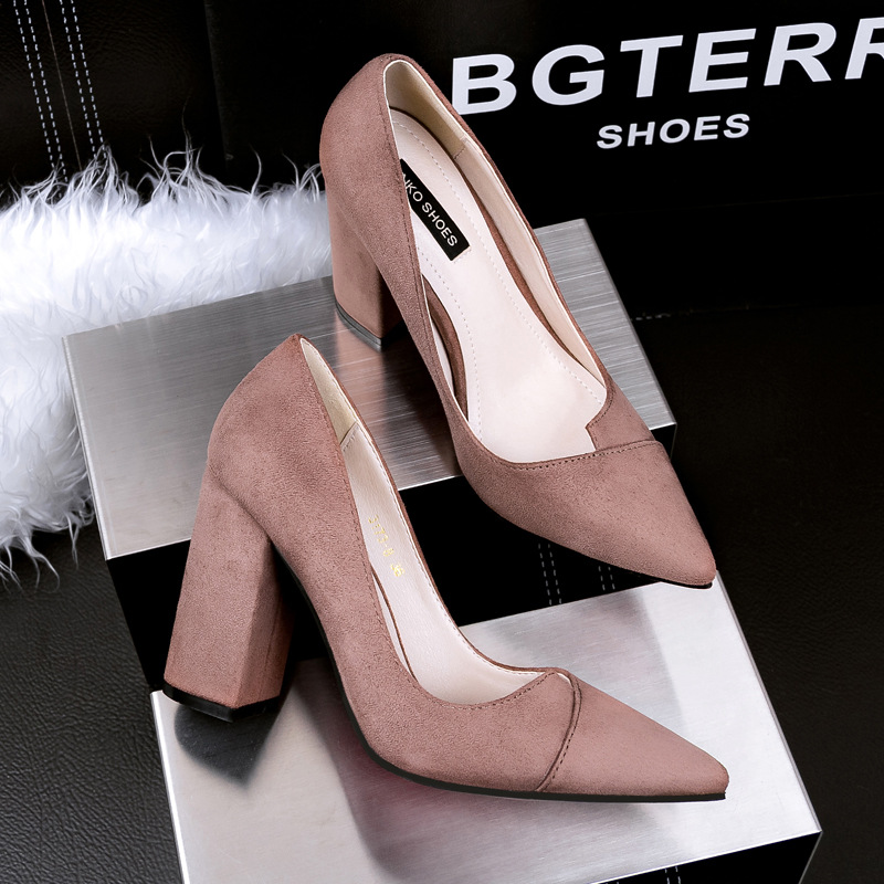 Women Pumps Thick Heel High Heels Shoes Sexy Female High-heeled Pointed Toe Womens Flock Suede Single Heeled G317