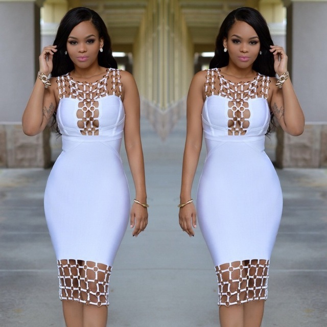 Women s Vestidos Bandage Dress Rayon 2017 Summer Hollow Out U Neck Sequined  Bodycon Dress Black White Dinner Sexy Party Dresses 85e9eee50914