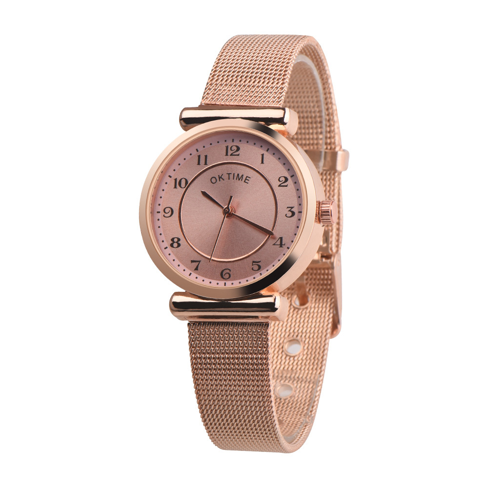 Best Selling Casual Temperament Quartz WristWatches Fashion Watch Women Metal Mesh Belt Luxury Digital Watch Clock Reloj Mujer#A