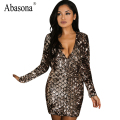 Abasona Luxury golden sequin deep v neck sexy bodycon dress Women evening party dress Long sleeve summer dress vestidos