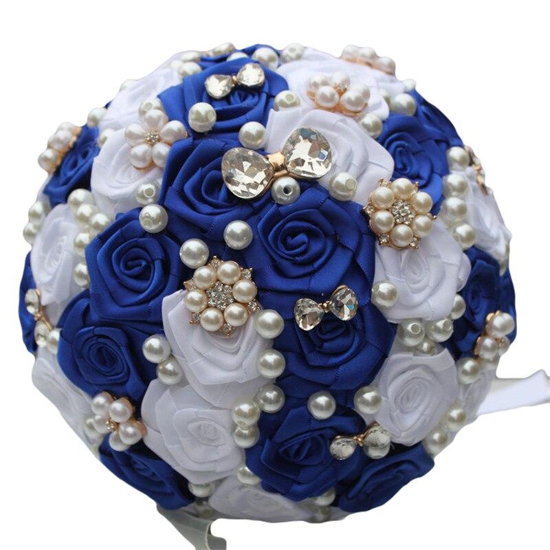 Brosche Royal Blue White Atemberaubende Braut Brautjungfer Bouquets - Partyartikel und Dekoration