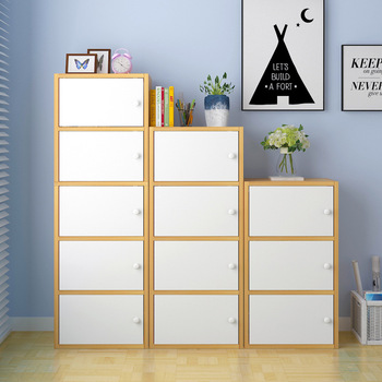 Multi Layer Wooden Bookcase Wall Storage Shelf Creative Modern Combined Home Decoration Furniture Student Bookshelf with Door