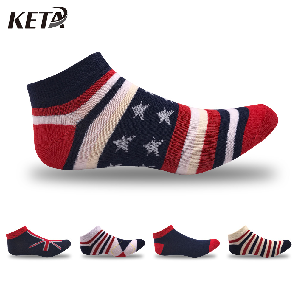 KETA Summer Men Short Cotton Socks Male Casual Colorful Brand Ankle Socks For Men Striped Meias No Show Low Cut Boat Sox 5Pairs