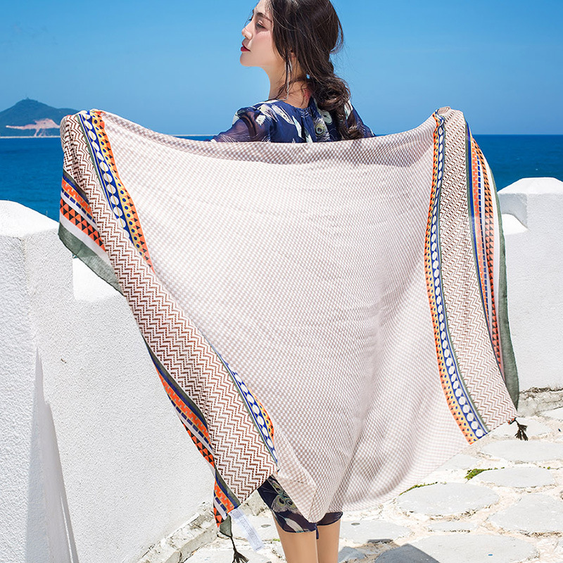 [Lakysilk] летние богемные Для женщин шарф Обертывания хлопок вискоза хиджаб шарфы женский в полоску с бахромой длинное пляжное голова большая ...