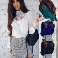 DERUILADY Casual Solid Long Sleeve Women Blouse Lace Hollow Out Sexy Ladies Clothes Tops 2018 Spring