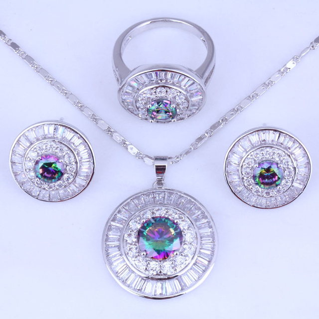 Lovely Mystic Imitation Topaz Cubic Zirconia Round Bridal 925 Stamp Silver Plated Jewelry Sets Size 5 / 6 / 7 / 8 / 9 / 10 H0271