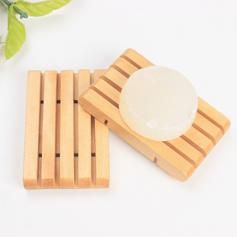 100pcs Natural Wooden Soap Tray Holder Soap Rack Plate Box Container Wooden Soap Dish Bathroom Accessories