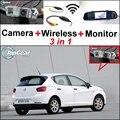 3 in1 Especial Cámara de Visión Trasera + Receptor Inalámbrico + Monitor Del Espejo DIY Sistema de Aparcamiento Para SEAT Ibiza 6L 6J SC MK3 MK4 2002 ~ 2015