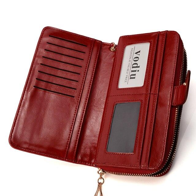 Women Wallet Female Purse Women Leather Wallet Long Trifold Coin Purse Card Holder Money Clutch Wristlet Multifunction Zipper 2