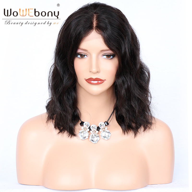 WoWEbony 100% Human Hair Wavy Indian Remy Hair Bob Wave Style Glueless Full Lace Wigs
