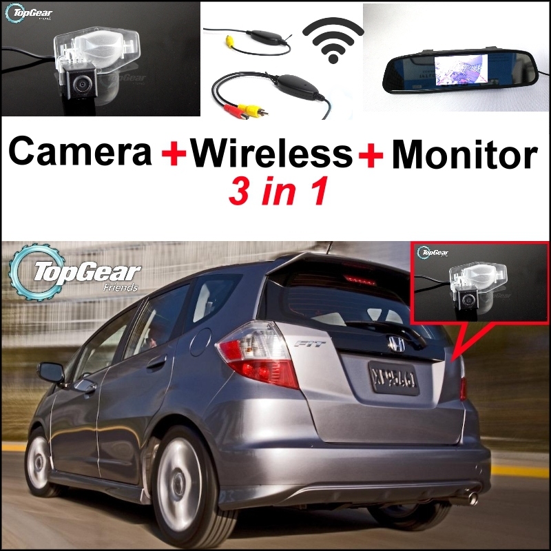 3 in1 Special Rear View Camera + Wireless Receiver + Mirror Monitor Esay DIY Back Up Parking System For Honda Fit 2002~2013 wireless receiver mirror monitor diy back up parking system for toyota sportsvan 3 in1 special rear view camera