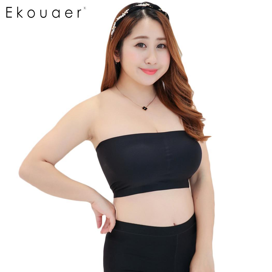 01973f8f7f182 Ekouaer Plus Size Sexy Strapless Padded Tube Top Brassiere Bandeau Bra  Strapless Vest Female Seamless Underwear