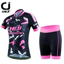 Reflective Women s CHEJI Cycling Kit Ladies Road Bike Bicycle Jersey Mountain Bike Gel Padded Shorts