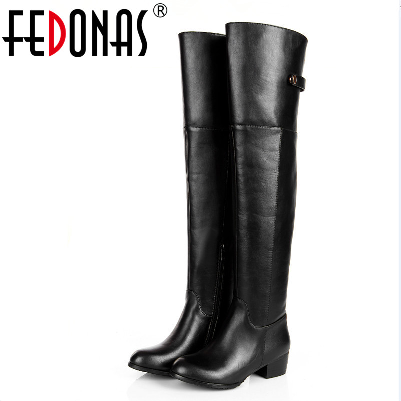 FEDONAS Women Tall Boots Sexy High Heeled Over The Knee Boots For Women Ladies Dancing Boots Genuine Leather Autumn Winter Shoes women boots sexy ladies high heels tall boots patent leather platform shoes over the knee boots for women red pole dancing boots