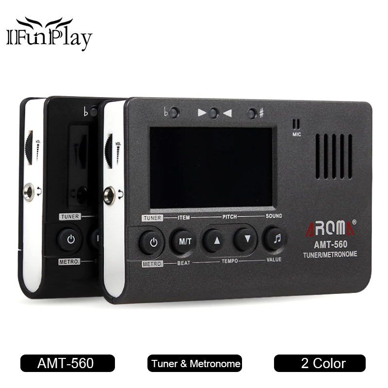 aroma amt 560 guitar tuner electric tuner metronome built in mic with pickup function for. Black Bedroom Furniture Sets. Home Design Ideas